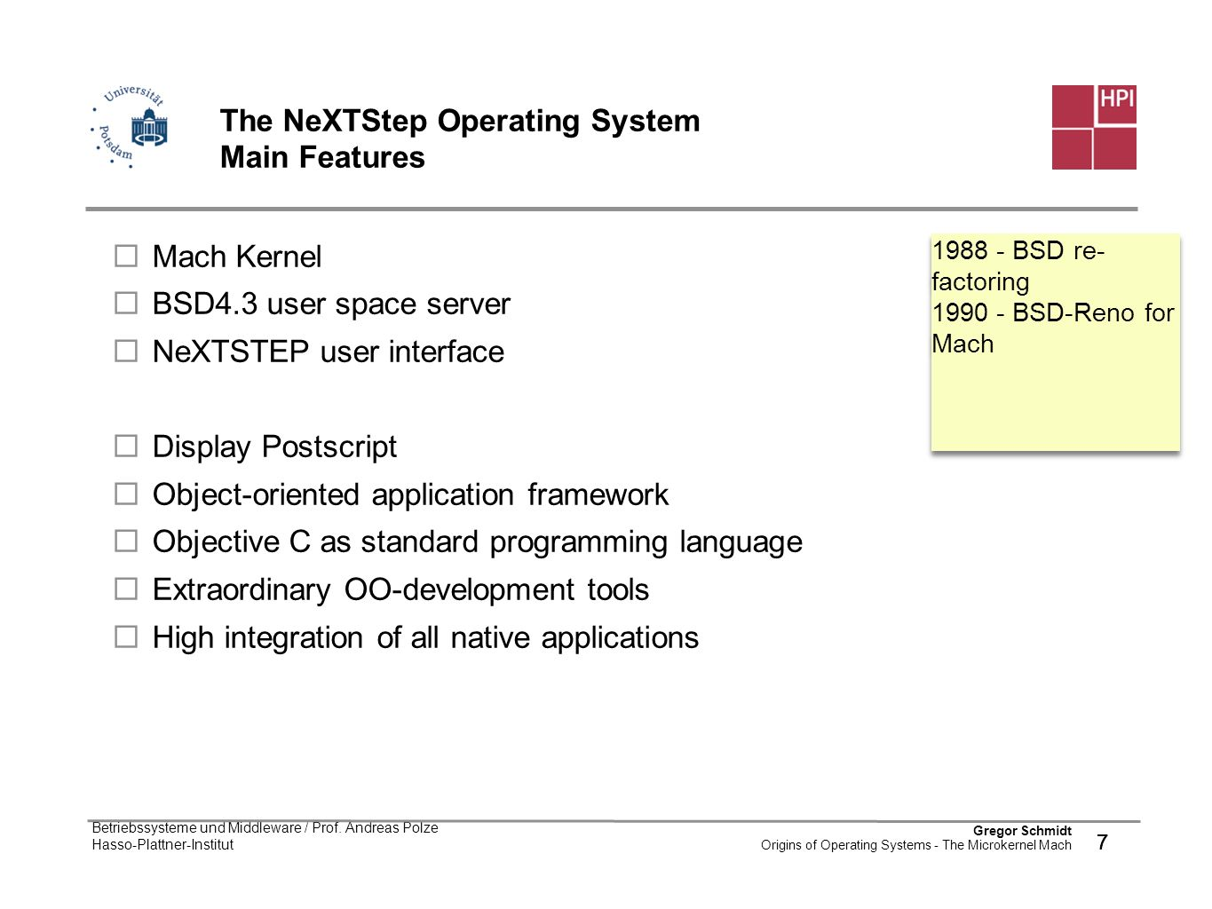 The NeXTStep Operating System Main Features