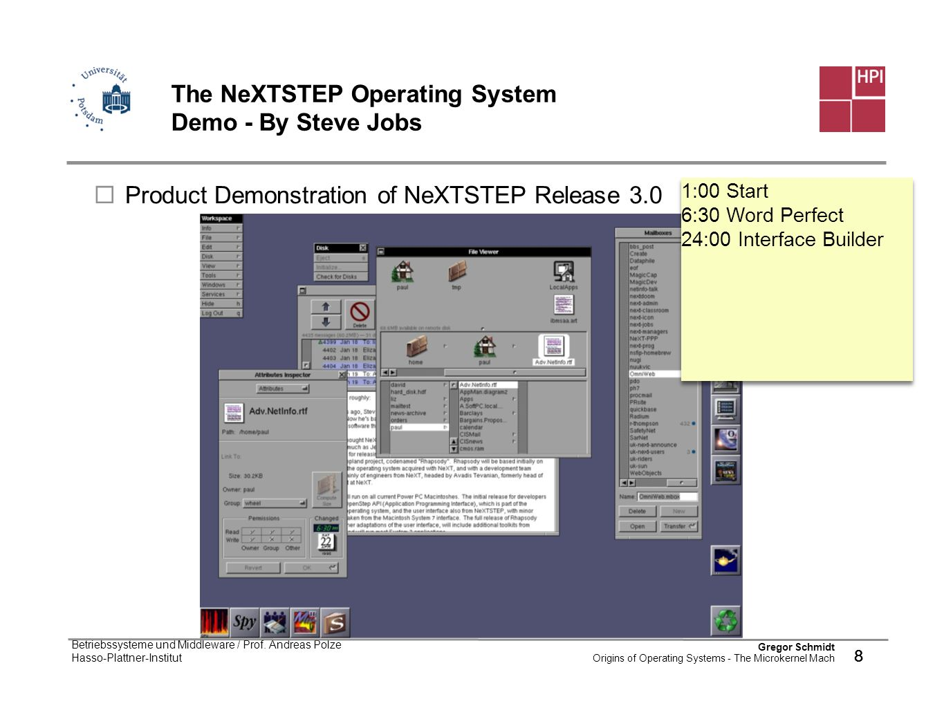 The NeXTSTEP Operating System Demo - By Steve Jobs
