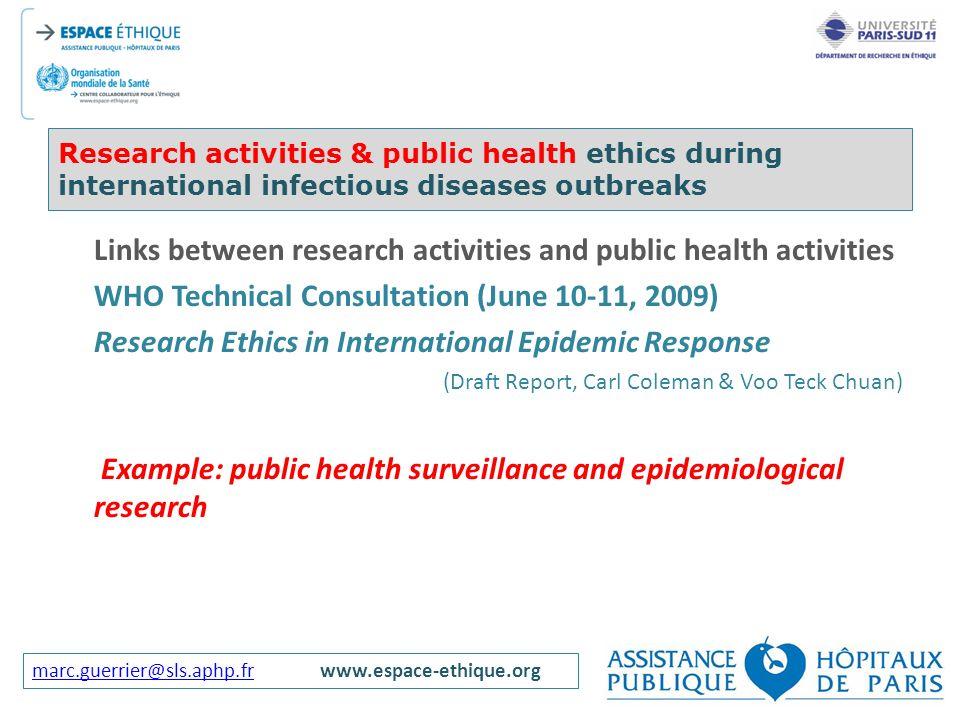 Links between research activities and public health activities
