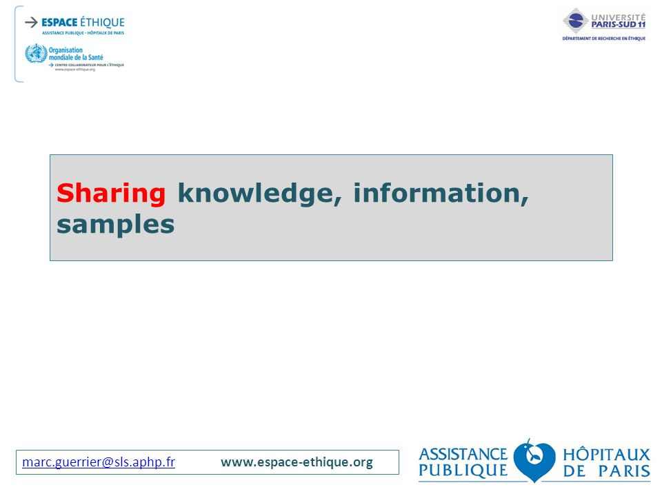 Sharing knowledge, information, samples