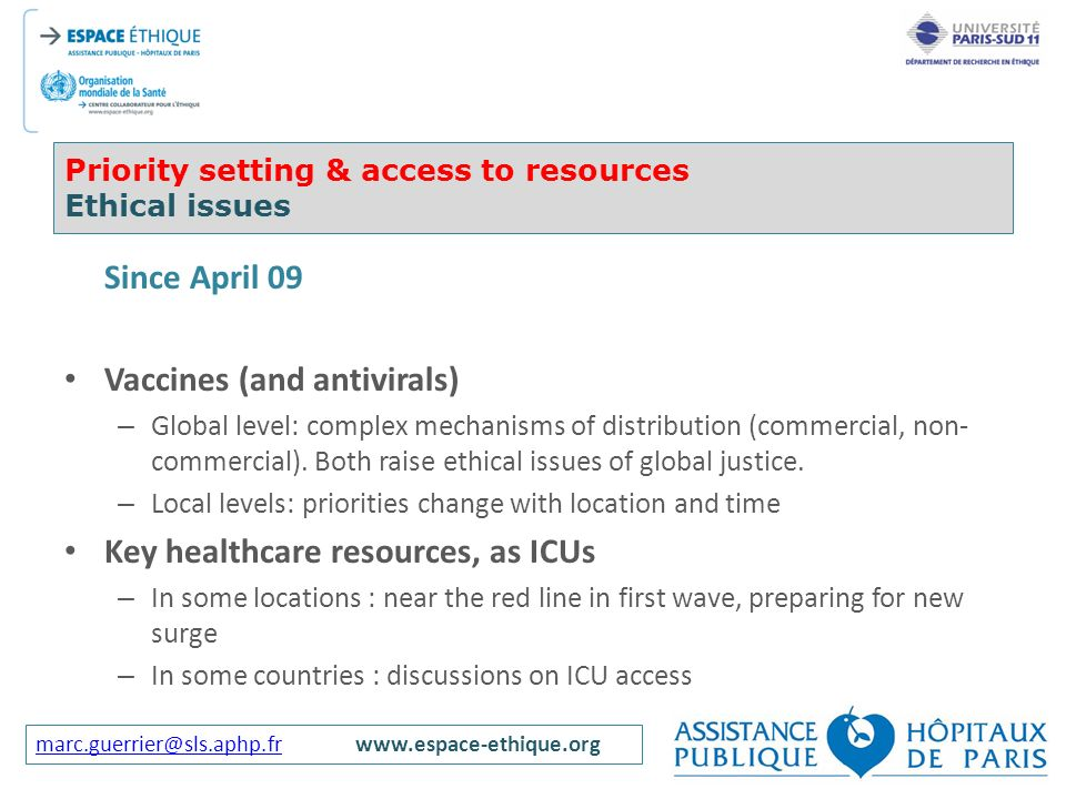 Priority setting & access to resources Ethical issues