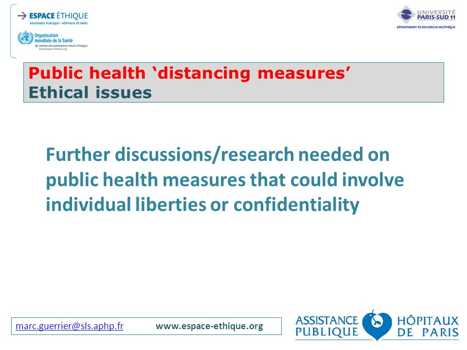 Public health 'distancing measures' Ethical issues