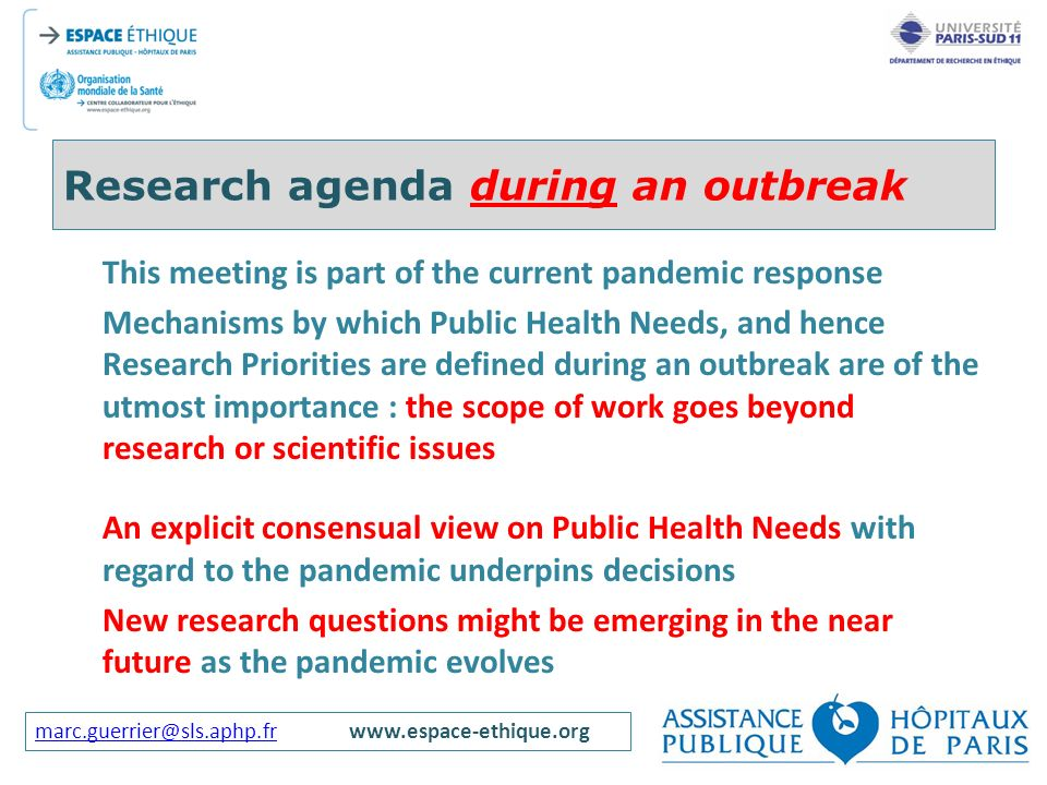 Research agenda during an outbreak