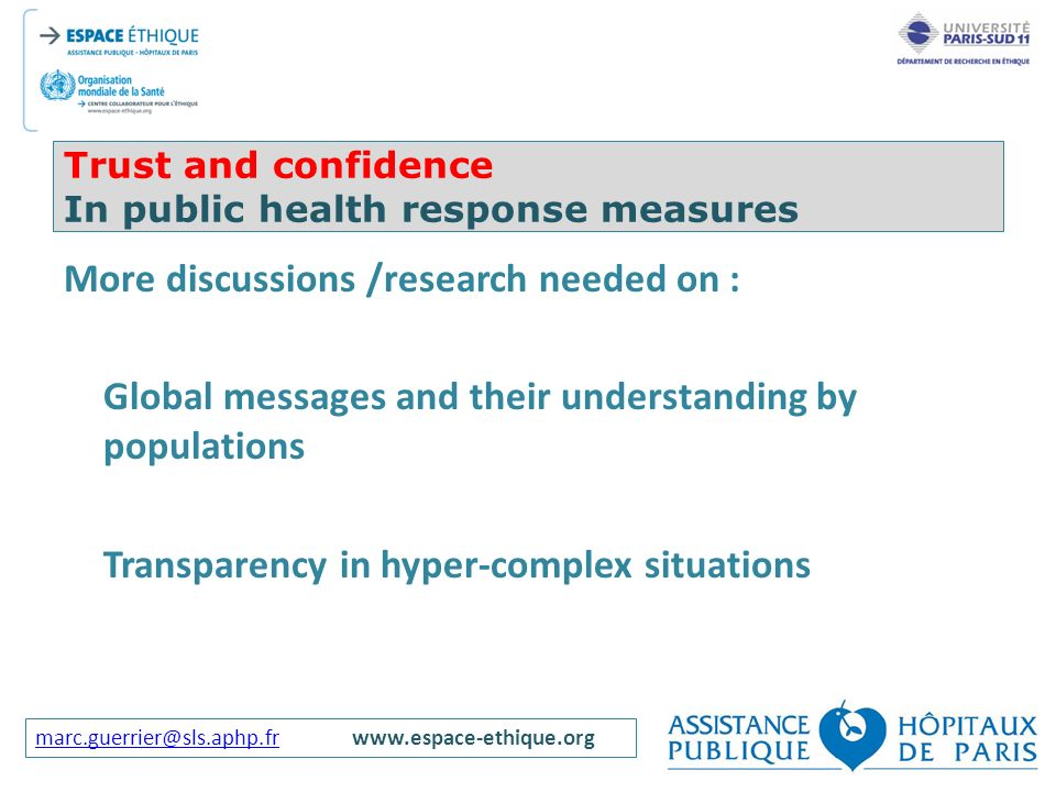 Trust and confidence In public health response measures