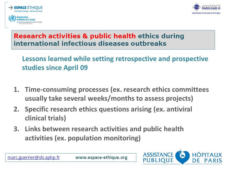 Research activities & public health ethics during international infectious diseases outbreaks
