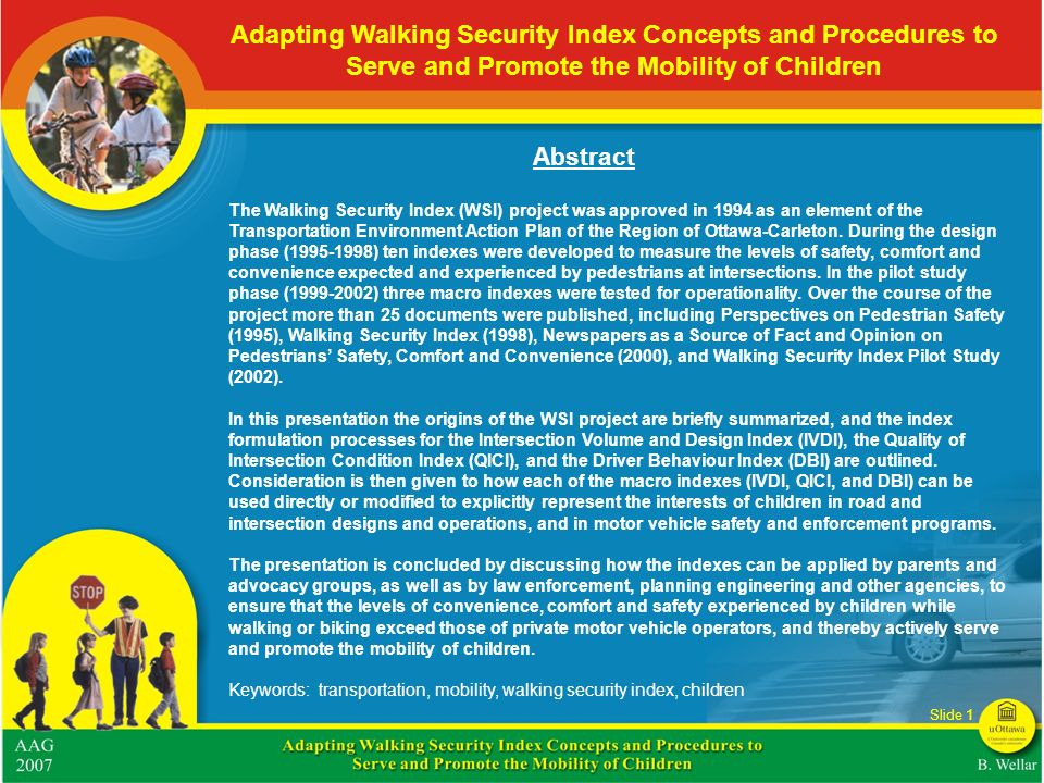Adapting Walking Security Index Concepts and Procedures to