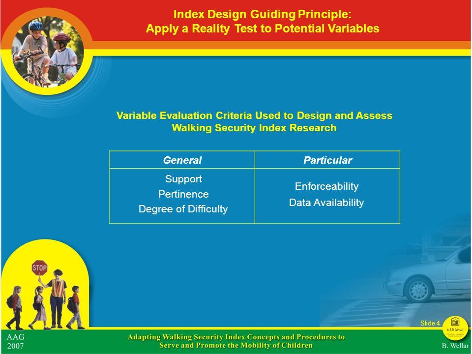 Index Design Guiding Principle: