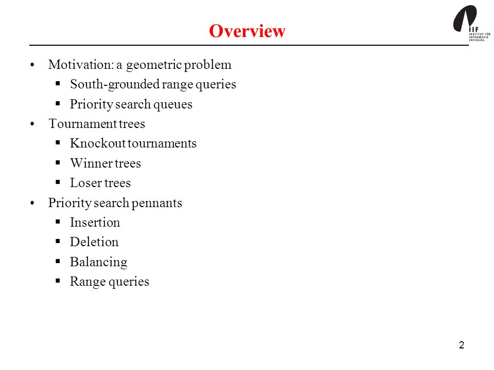 Overview Motivation: a geometric problem South-grounded range queries