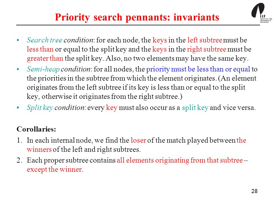 Priority search pennants: invariants