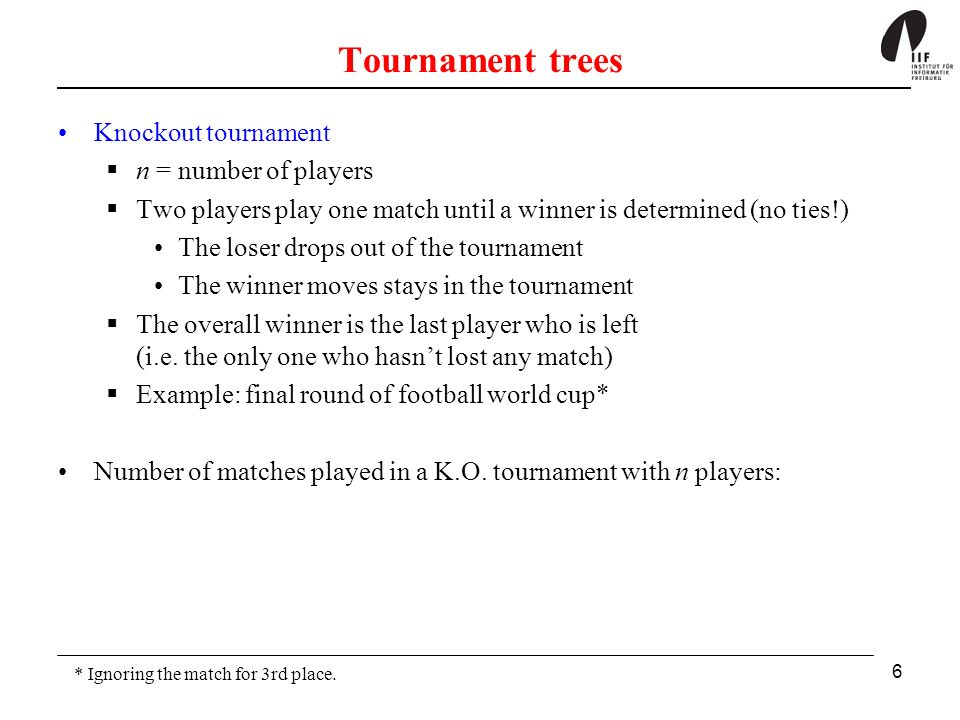 Tournament trees Knockout tournament n = number of players