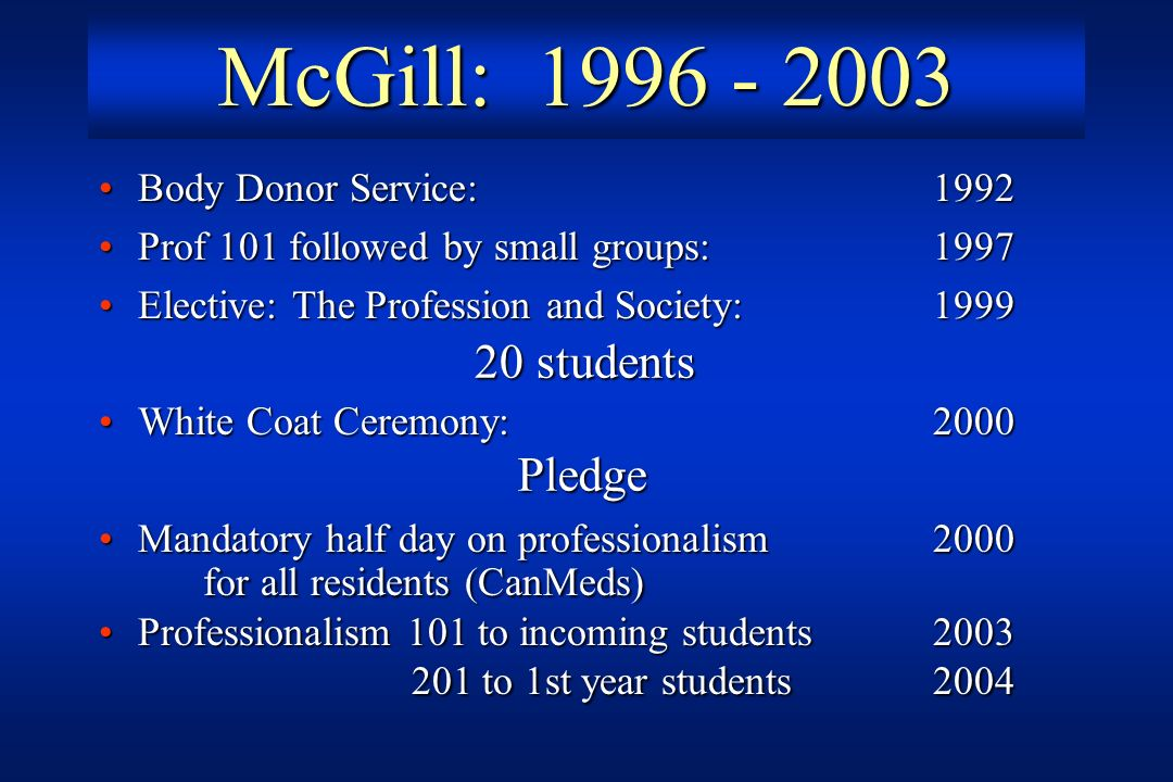 McGill: 1996 - 2003 for all residents (CanMeds)