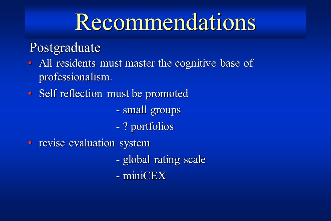 Recommendations Postgraduate