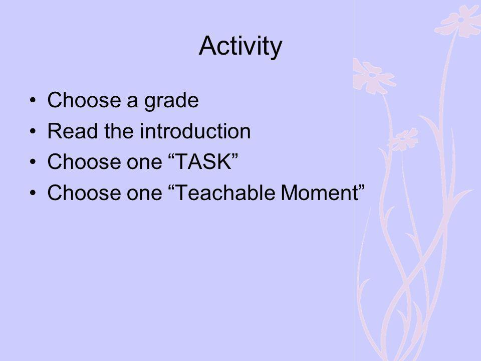 Activity Choose a grade Read the introduction Choose one TASK