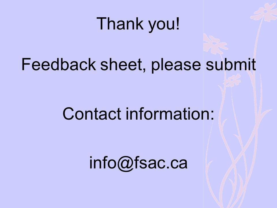 Thank you! Feedback sheet, please submit