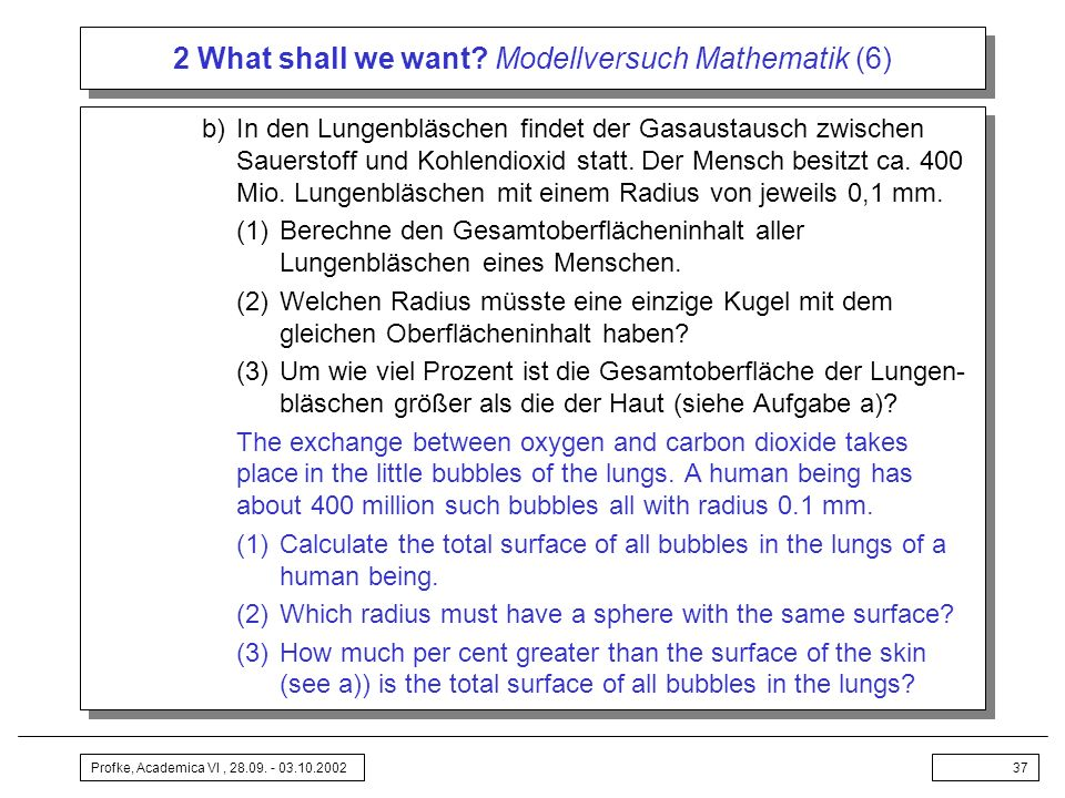 2 What shall we want Modellversuch Mathematik (6)