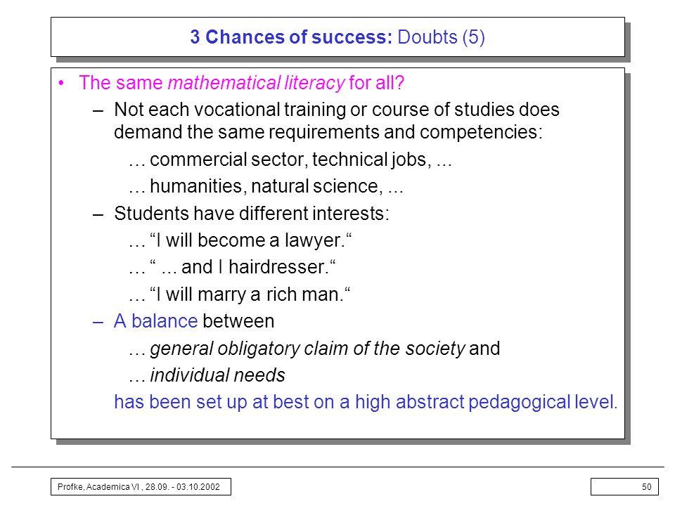 3 Chances of success: Doubts (5)
