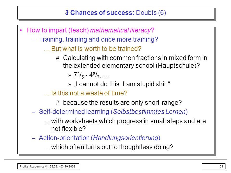 3 Chances of success: Doubts (6)