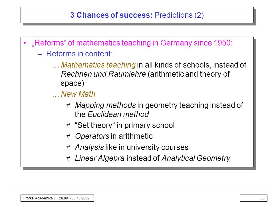 3 Chances of success: Predictions (2)