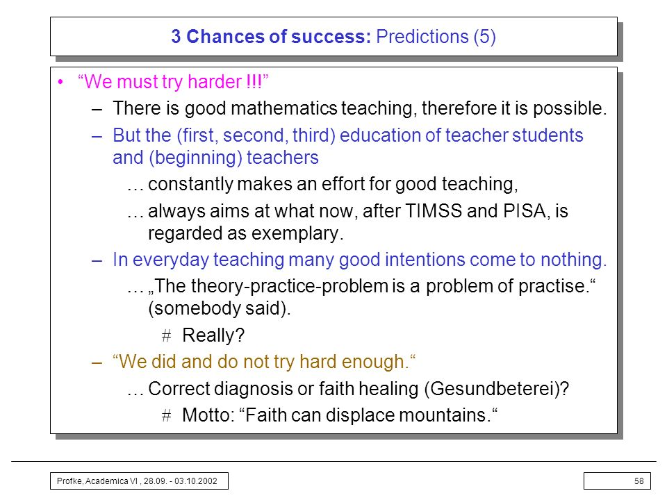 3 Chances of success: Predictions (5)
