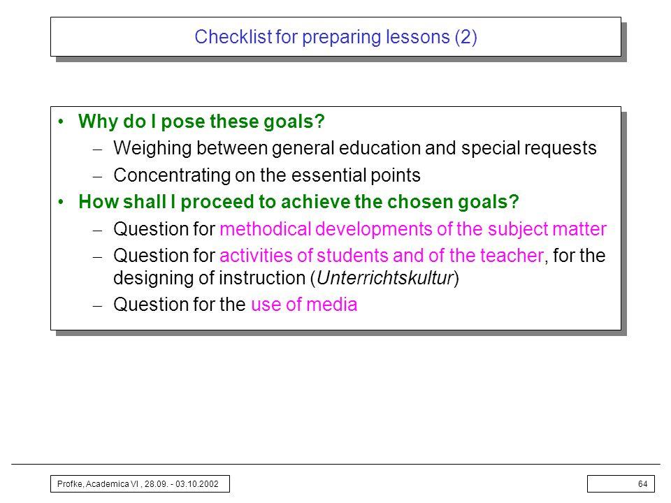Checklist for preparing lessons (2)