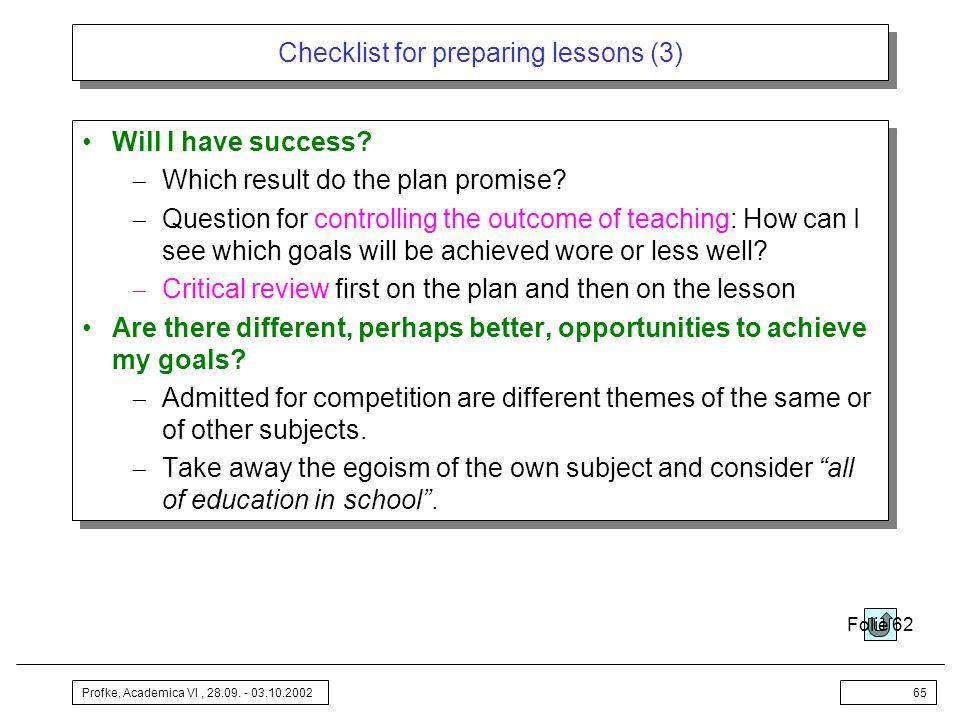 Checklist for preparing lessons (3)