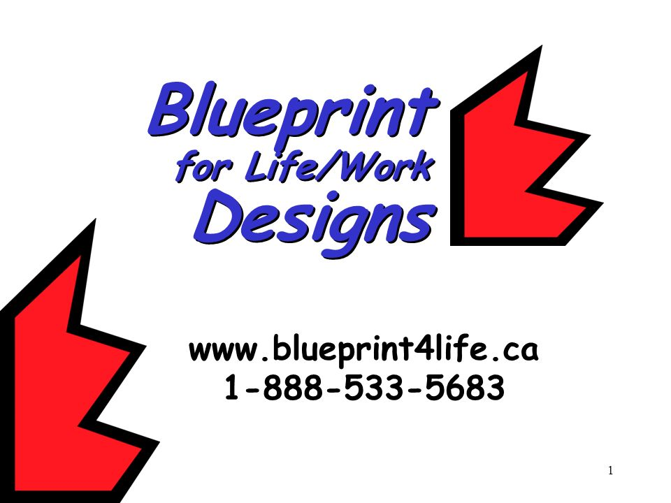 Blueprint for Life/Work Designs www.blueprint4life.ca 1-888-533-5683
