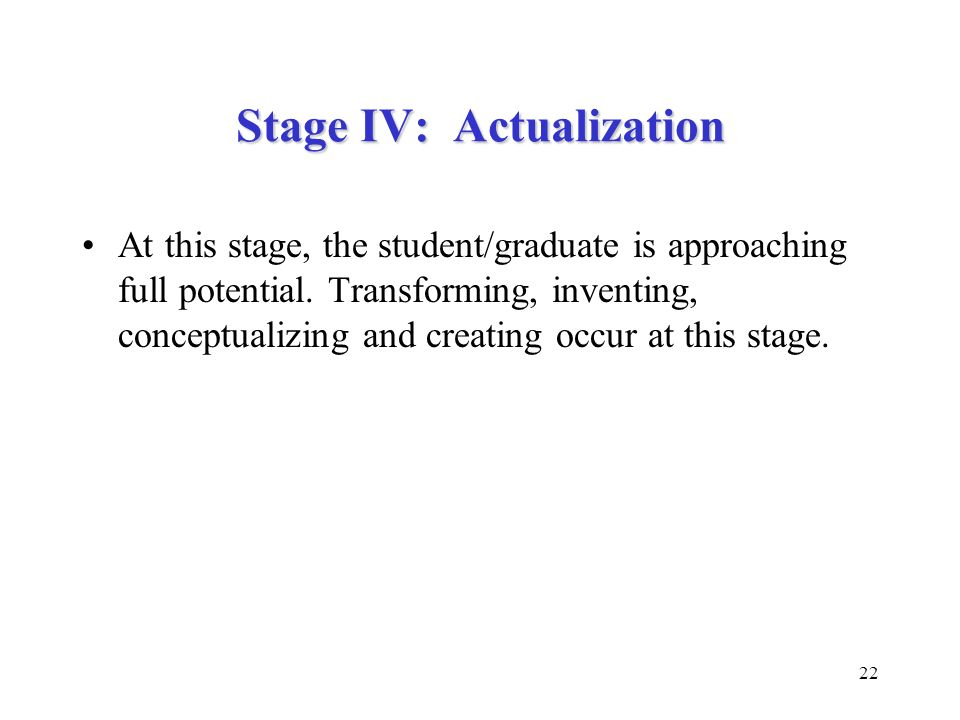Stage IV: Actualization