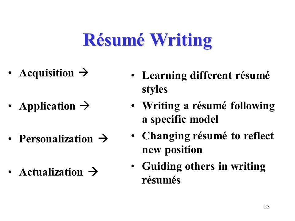 Résumé Writing Acquisition  Learning different résumé styles