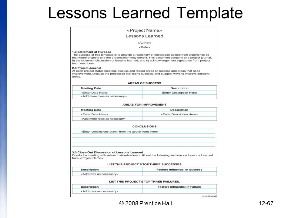 lessons learned template pmbok - introduction to project management chapter 12 managing