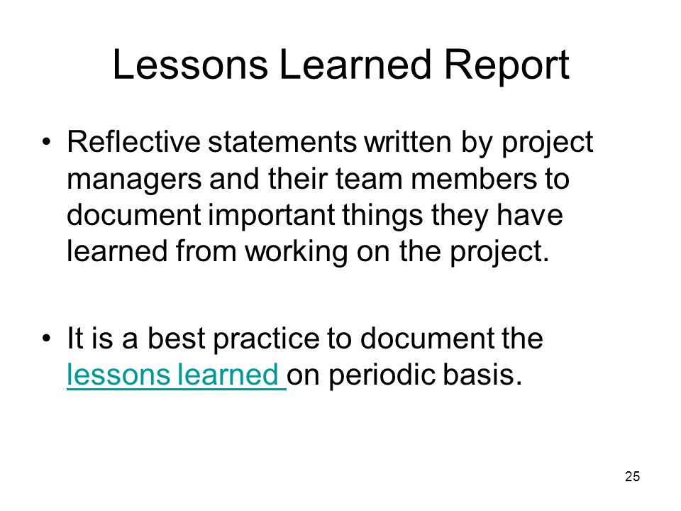 writing a lessons learned report Special report: the after-action critique: training through lessons learned april 2008 department of homeland security united states fire administration.