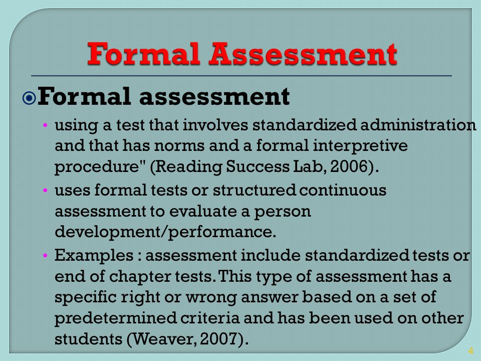 Charming 4 Formal Assessment Formal Assessment