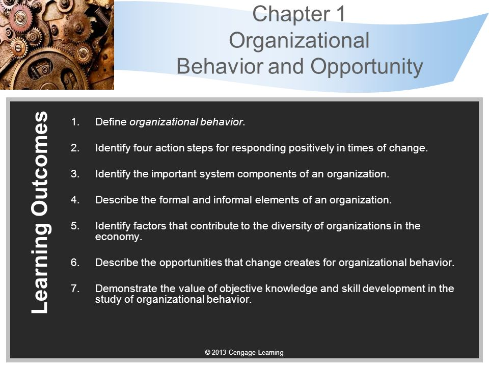 study of organizations behavior Students of organizational behavior studies analyze the behaviors and  motivations of people in businesses and other organizations subjects covered  include.