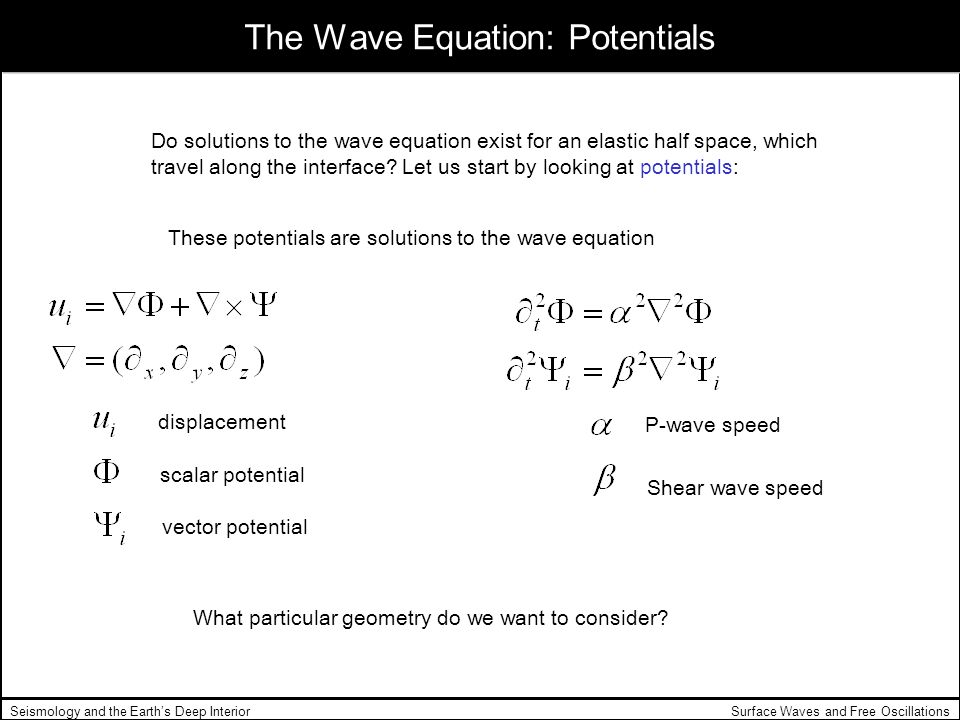 The Wave Equation: Potentials