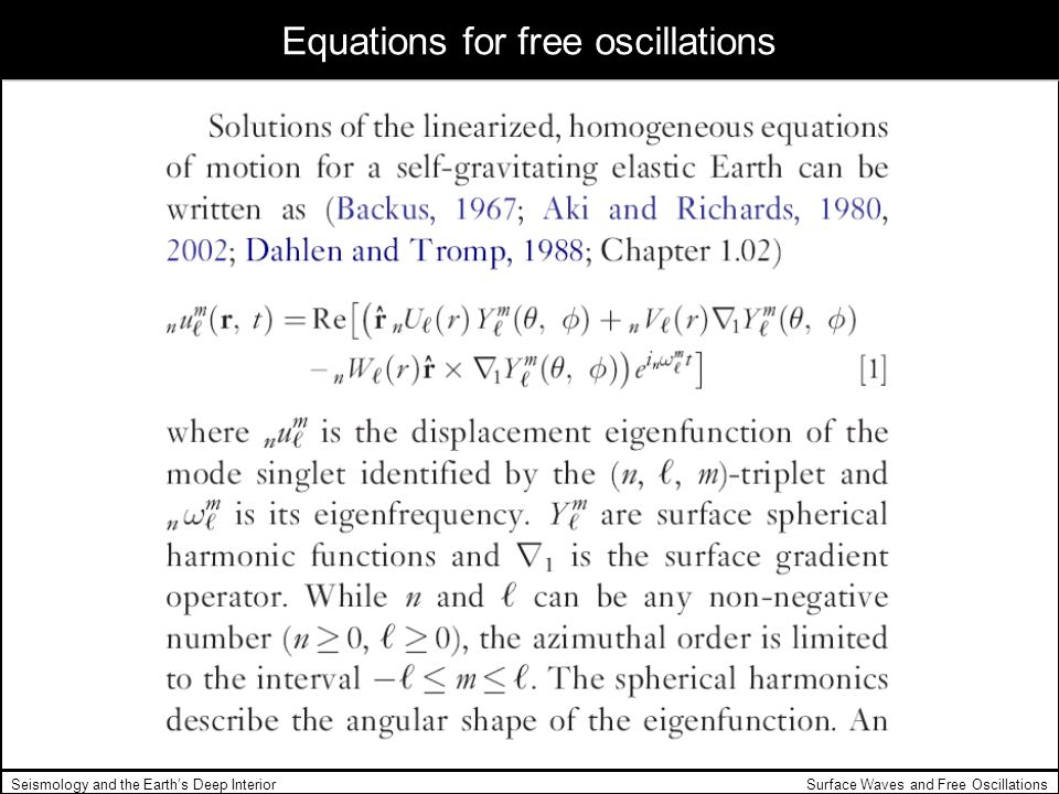 Equations for free oscillations