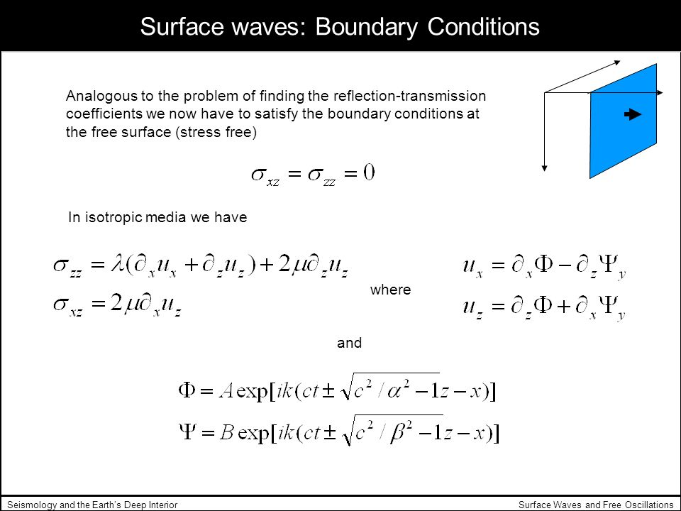 Surface waves: Boundary Conditions