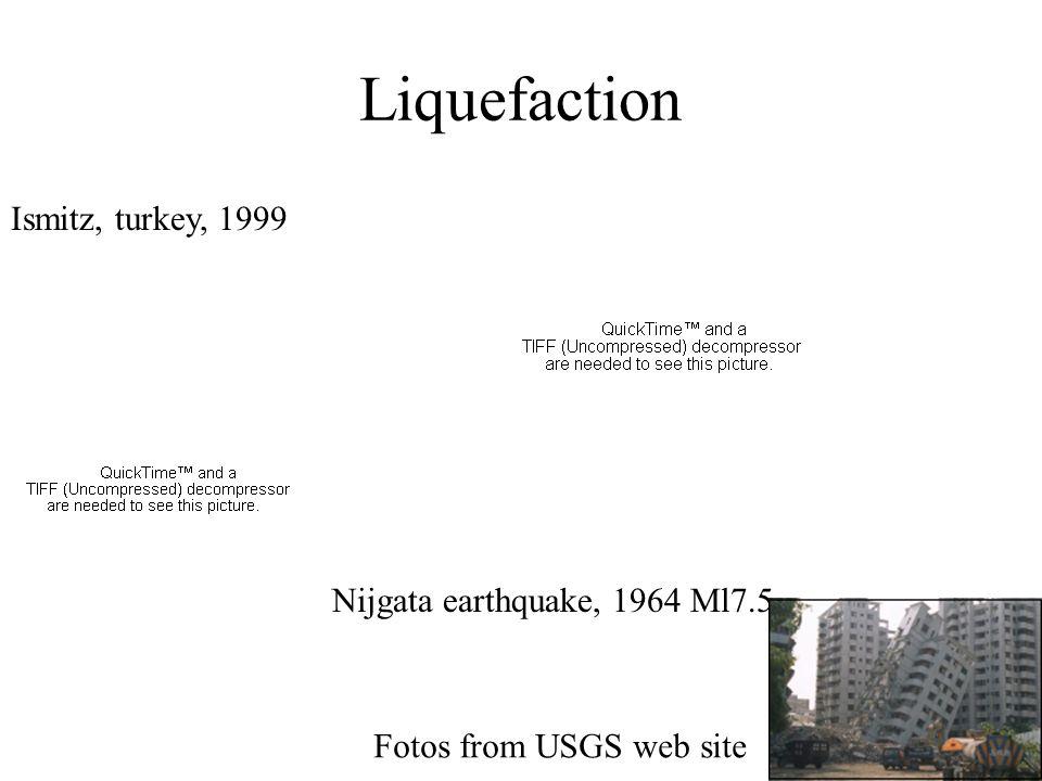 Liquefaction Ismitz, turkey, 1999 Nijgata earthquake, 1964 Ml7.5