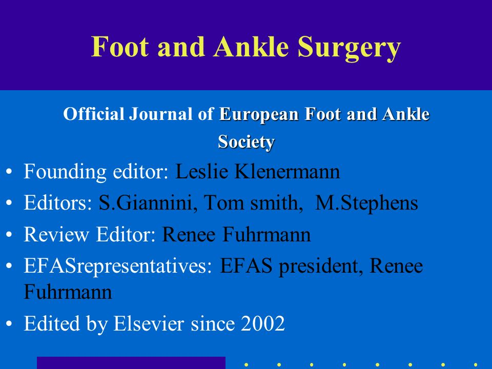 Official Journal of European Foot and Ankle