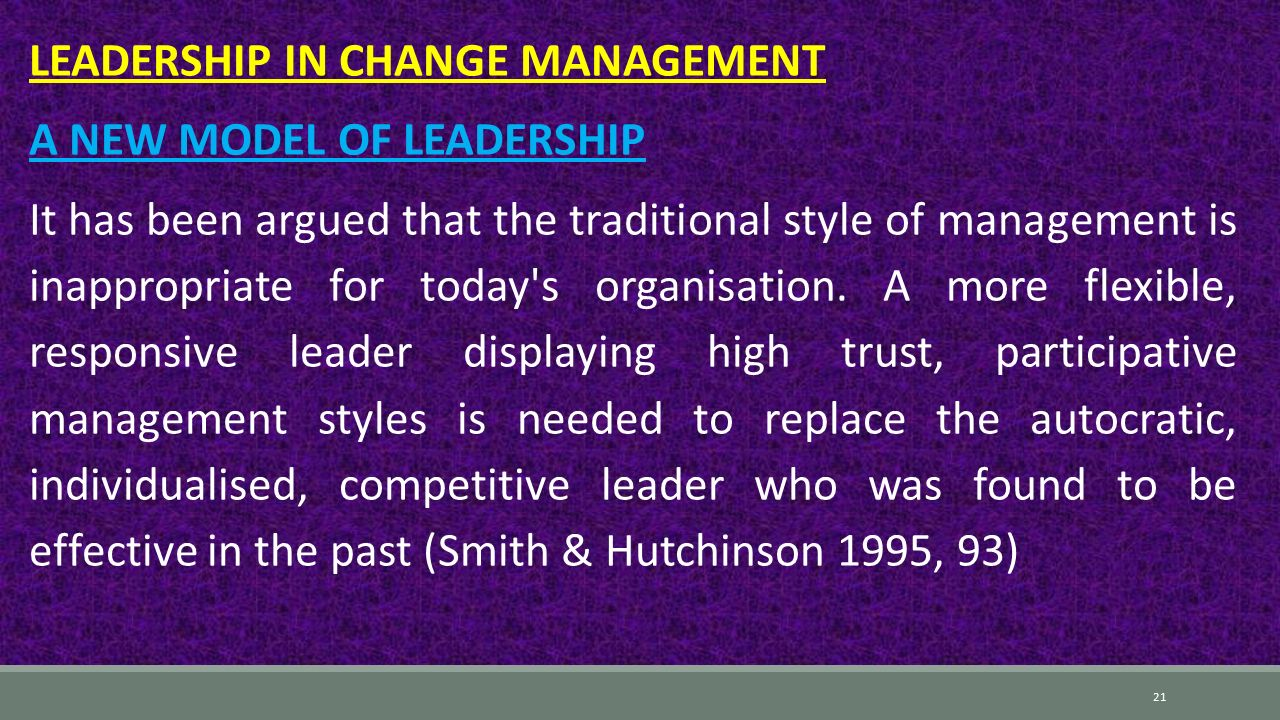 participative leadership style is always more Effective leadership styles therefore rely on the ability for a manager to understand the situation and his/her environment, including employees, corporate culture, and others, and then change his/her style to suit the environment, therefore adjusting the style.