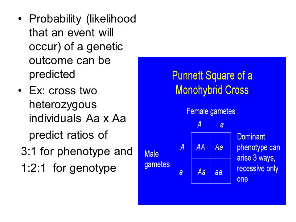 Probability (likelihood that an event will occur) of a genetic outcome can be predicted