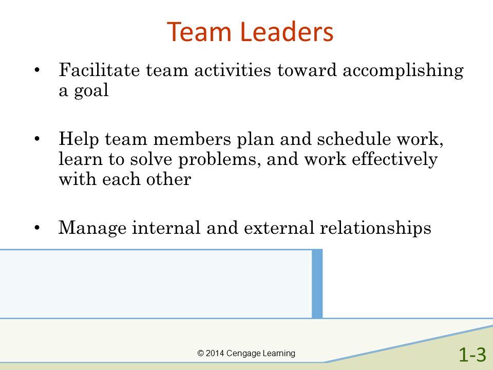 Team Leaders Facilitate team activities toward accomplishing a goal.