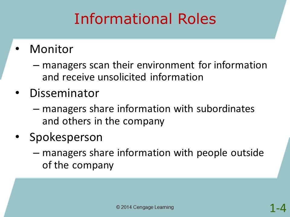 Informational Roles Monitor Disseminator Spokesperson 1-4