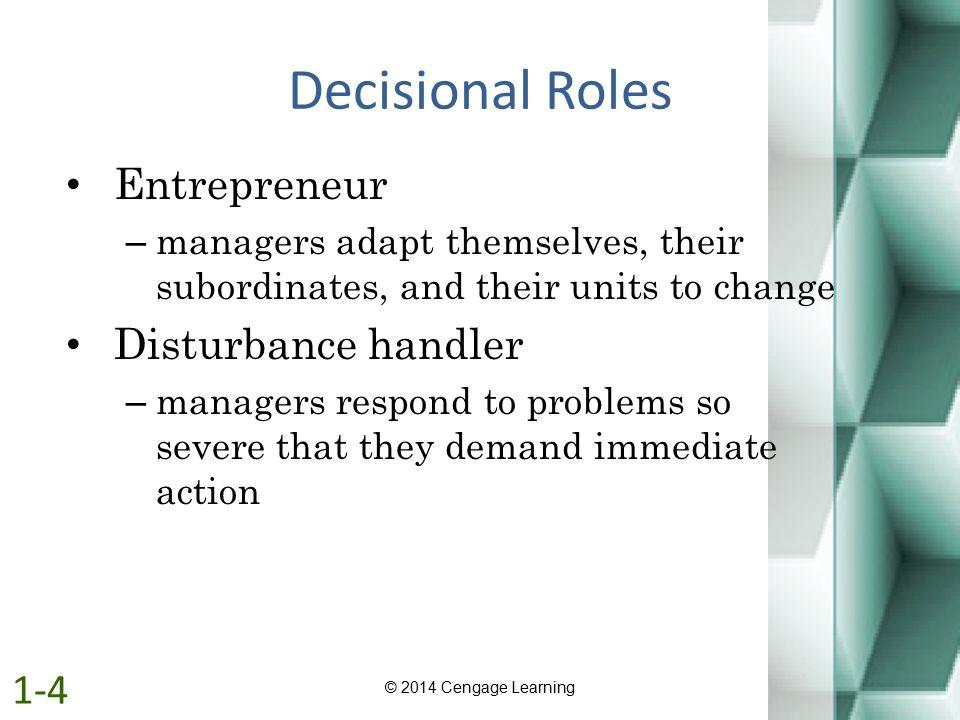 Decisional Roles Entrepreneur Disturbance handler 1-4