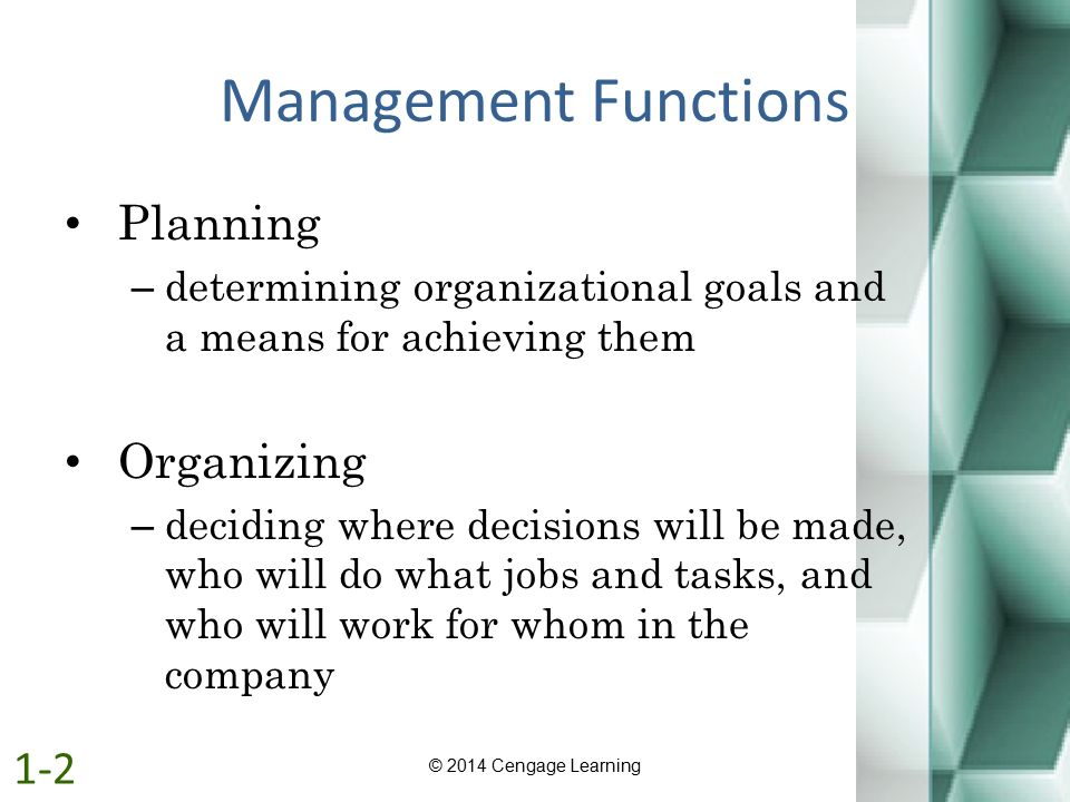 Management Functions Planning Organizing 1-2