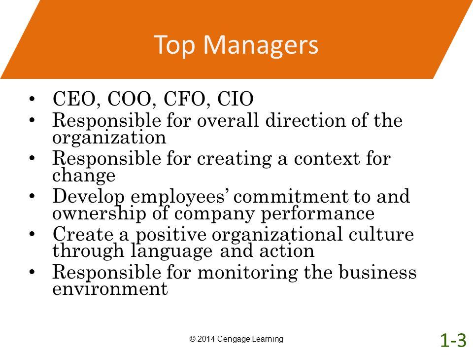 Top Managers 1-3 CEO, COO, CFO, CIO