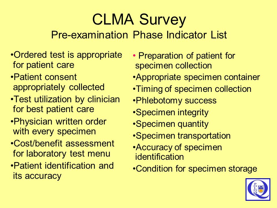 CLMA Survey Pre-examination Phase Indicator List