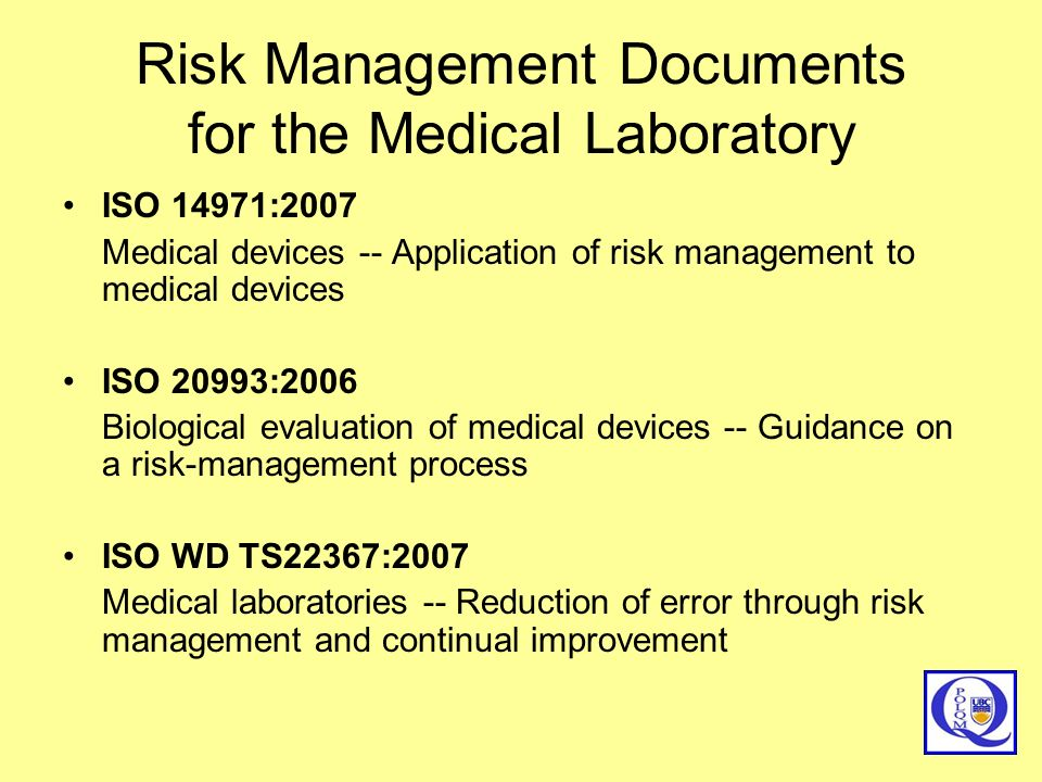 Risk Management Documents for the Medical Laboratory