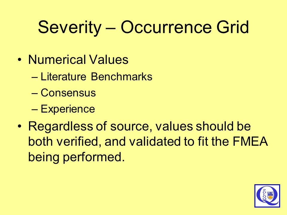Severity – Occurrence Grid