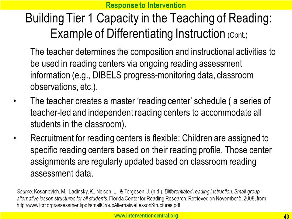 differentiated instruction examples for reading