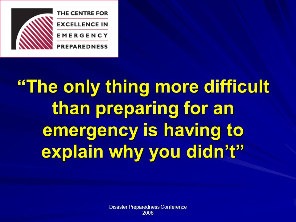 Disaster Preparedness Conference 2006