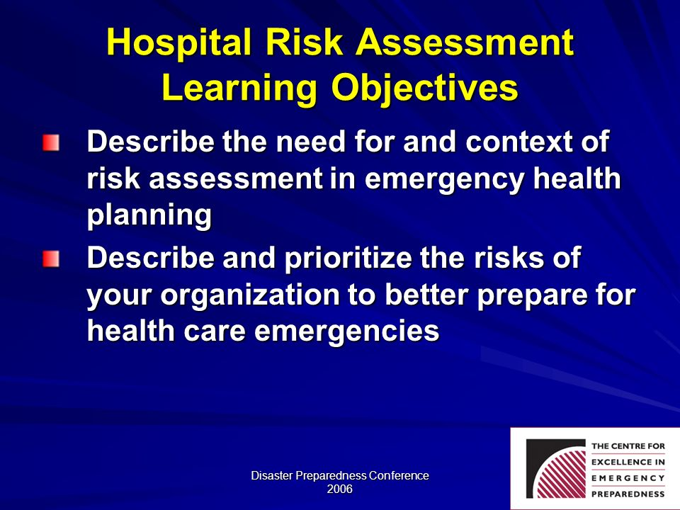 Hospital Risk Assessment Learning Objectives